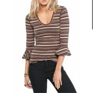 Free People Surprise Party Shimmer Striped Top